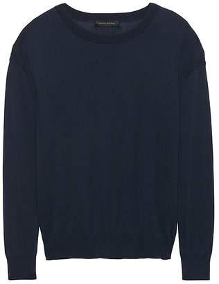 Banana Republic Silk-Cotton Pointelle Crew-Neck Sweater