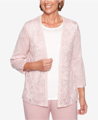 Alfred Dunner Home For The Holidays Beaded Layered-Look Sweater