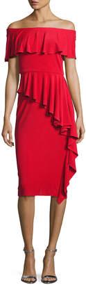 Rickie Freeman For Teri Jon Off-the-Shoulder Draped Jersey Sheath Dress, Red