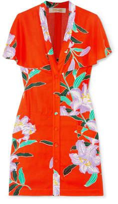 Diane von Furstenberg Cape-effect Cutout Floral-print Twill Mini Dress - Papaya