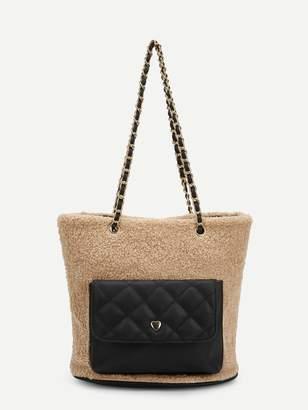 Shein Color-block Faux Fur Chain Tote Bag