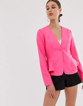 UNIQUE21 tailored jacket with ruffle detail