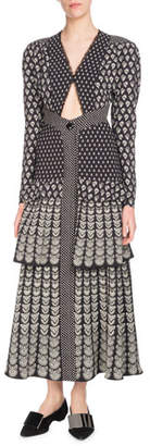 Proenza Schouler Long-Sleeve V-Neck Triangle-Cutout Fan-Print Tiered Long Dress