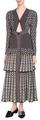 Proenza Schouler Long-Sleeve V-Neck Triangle-Cutout Fan-Print Tiered Long Dress