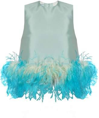 Prada Feather-trimmed wool-blend sleeveless top