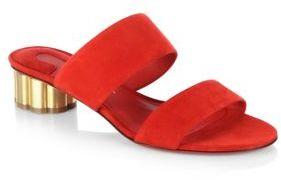 Salvatore Ferragamo Belluno Flower Heel Suede Slide Sandals