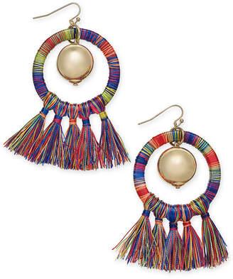 INC International Concepts I.n.c. Gold-Tone Ball & Tassel Wrapped Drop Hoop Earrings, Created for Macy's