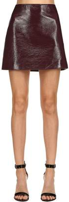 Courreges Logo Wrinkled Vinyl Mini Skirt