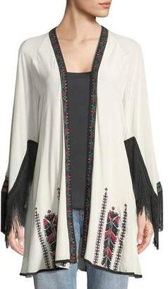 Talitha Collection Myra Fringed Wrap Embroidered Kimono Jacket