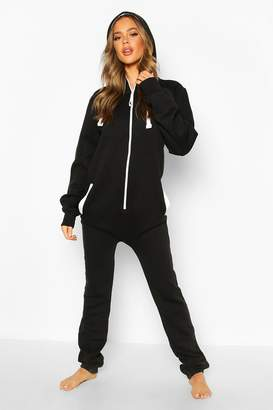 boohoo Macey Contrast Pocket & Tie Zip Up Onesie