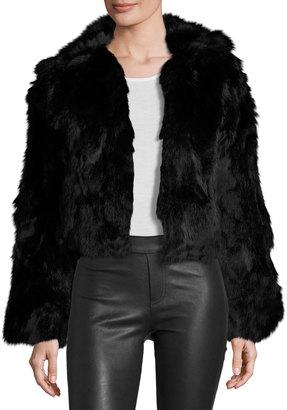 Adrienne Landau Rabbit Fur Cropped Jacket, Black $385 thestylecure.com