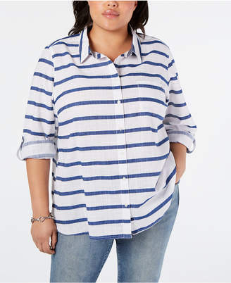 Tommy Hilfiger Cotton Plus Size Striped Top