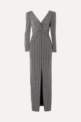 Rachel Zoe Nava Twist-front Metallic Stretch-knit Maxi Dress