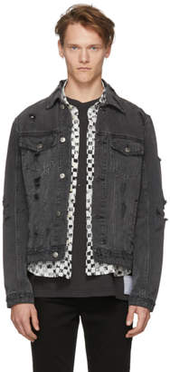 Ksubi Black Denim Super Smashed Classic Jacket