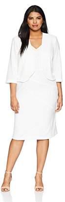 Maya Brooke Women's Size Pearl Beaded Jacket Dress Plus