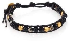 Chan Luu Black Onyx, Crystal& Leather Beaded Wrap Bracelet