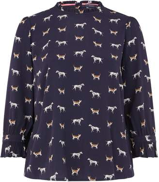 Next Womens Oasis Blue Curve Cat And Dog Print Top