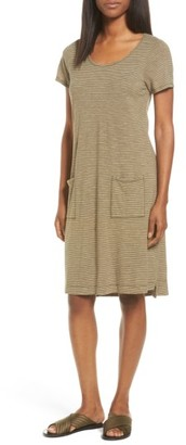 Petite Women's Eileen Fisher Hemp Blend Stripe T-Shirt Dress $168 thestylecure.com