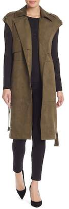 Laundry by Shelli Segal Faux Suede Belted Long Vest