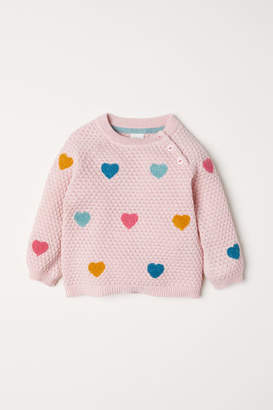 H&M Textured-knit Sweater - Pink