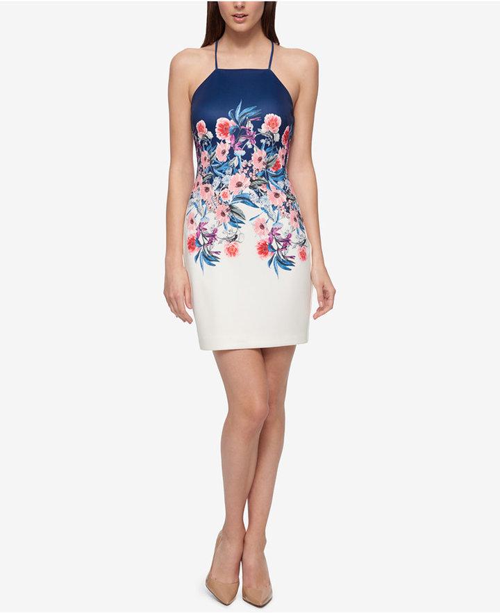 Guess Floral-Print Open-Back Sheath Dress