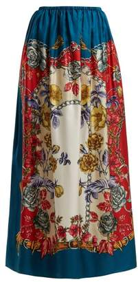Gucci Boudoir Floral Print Silk Twill Maxi Skirt - Womens - Blue Multi