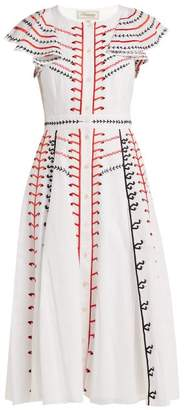 Temperley London Expedition Embroidered Cotton Dress - Womens - White Multi