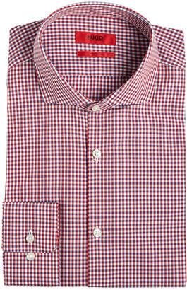 HUGO BOSS HUGO Men's Slim-Fit Red Mini Gingham Dress Shirt