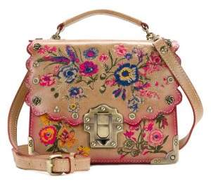 Patricia Nash Prairie Rose Embroidery Stella Leather Crossbody Bag