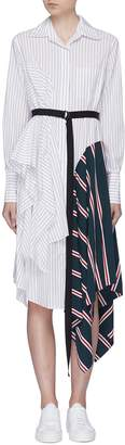 Tome Belted asymmetric drape panel stripe handkerchief shirt dress