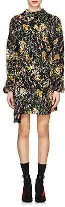 Prada Women's Rose-Print Silk Crepe Minidress