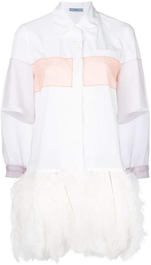 Prada organza sleeve feather trim shirt