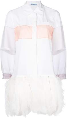 Prada organza sleeve feather-trim shirt