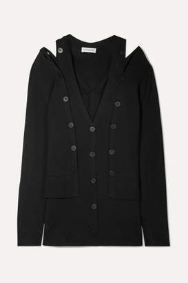 Altuzarra Tramonti Layered Merino Wool Cardigan - Black
