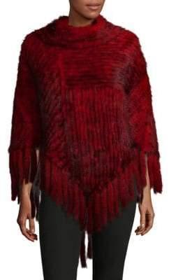 Knitted Mink Fur Fringe Poncho