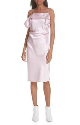 Helmut Lang Drape Front Satin Dress