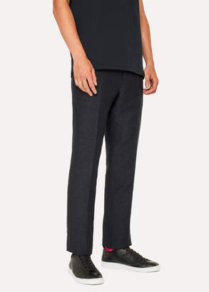 Paul Smith Men's Mid-Fit Dark Navy Textured-Check Wool-Blend Pants