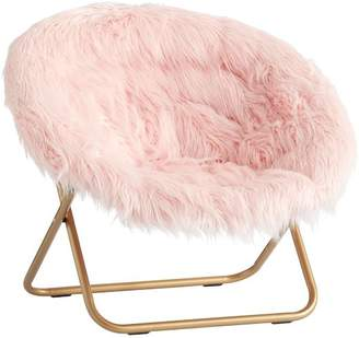 Pottery Barn Teen Hang-A-Round Chair, Himalayan Blush Faux-Fur w/ Gold Base
