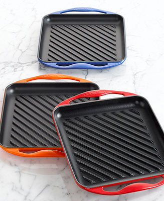 """Le Creuset Enameled Cast Iron 9.5"""" Square Skinny Grill Pan"""