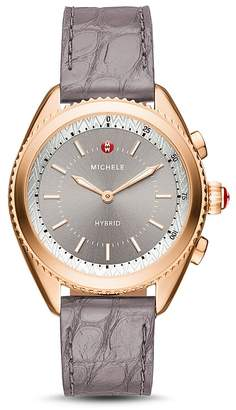Michele Gray Alligator & Silicone Strap Hybrid Smartwatch, 38mm