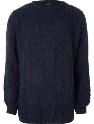 River Island Mens Big and Tall navy cable knit sweater
