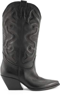 Strategia Black Leather Texan Boots