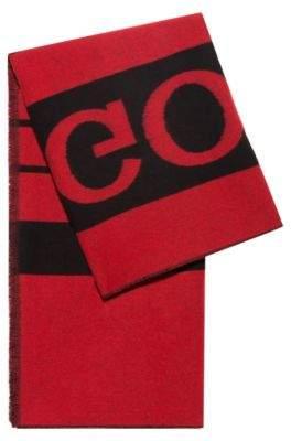 HUGO Reverse-logo blanket scarf in a virgin-wool blend