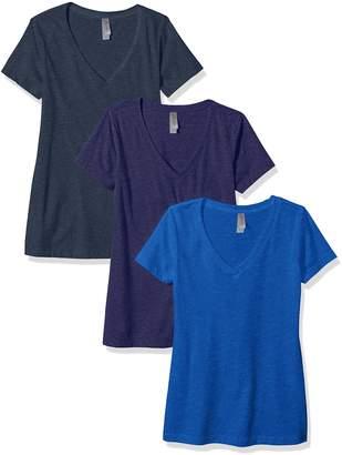 Clementine Apparel Women's Petite Plus Deep V-Neck T-Shirt (Pack of 3)