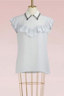Miu Miu Ruffled Silk Top