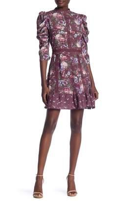 Taylor & Sage 3\u002F4 Sleeve Floral Print Lace Trim Dress