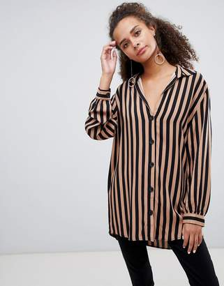 Bershka 70s striped longline shirt