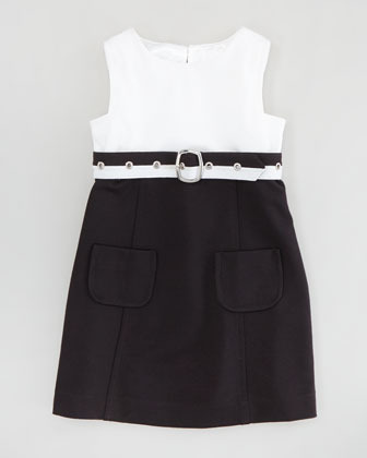 Milly Minis Cece Combo Belted Dress, White/Black, Sizes 8-10