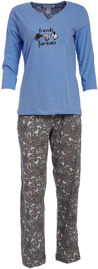 Blue & Gray Dogs 'Friends Fur-Ever' Pajama Set - Women