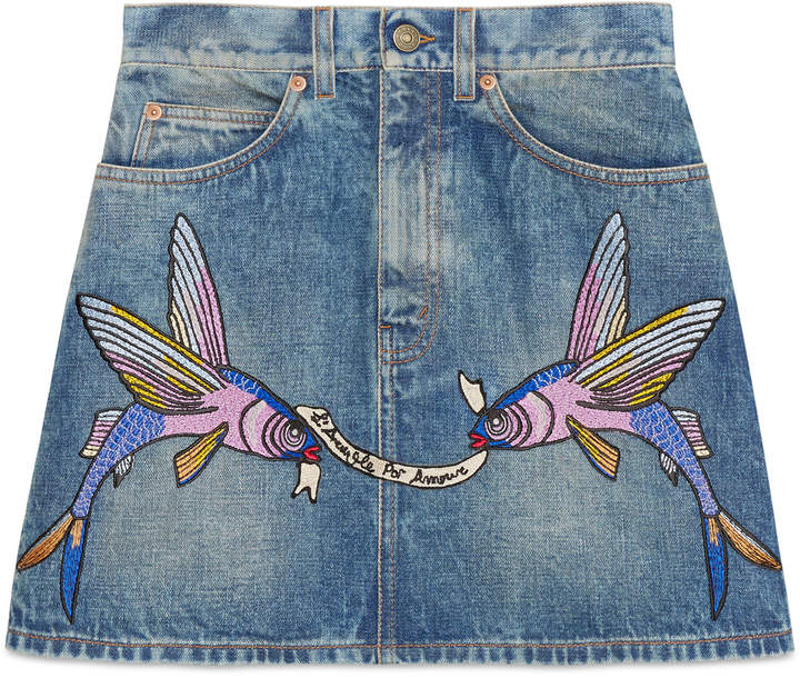 Unskilled Worker embroidered mini skirt